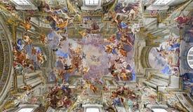 sant chiesa di ignazio ・罗耀拉・罗马的屋顶 免版税库存照片