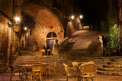 Sant Domenec Stairs in Girona at Night. Girona city by night, Pujada de Sant Domenec stairs and Arch of the Agullana Palace, Catalonia, Spain Stock Image