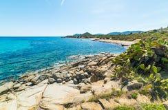 Sant`Elmo beach on a sunny day. Sardinia stock image