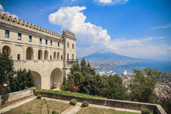 Sant`Elmo Castle and Naples background Stock Photo