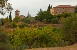 Sant Genis Ametlla church and Can Xammar house Royalty Free Stock Photo