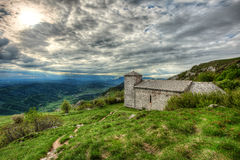 Sant Jerome church on mount Nanos in slovenia, europe after stor Royalty Free Stock Photos
