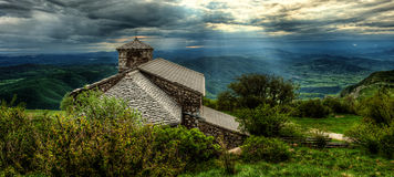 Sant Jerome church on mount Nanos in slovenia, europe after stor Royalty Free Stock Images