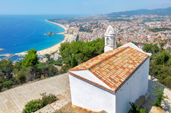 Sant Joan Castle in Blanes. Costa Brava, Spain. View of beach and town from Sant Joan Castle. Blanes. Costa Brava, Spain royalty free stock photos