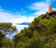 Sant Joan castle in Lloret de Mar at Costa Brava Royalty Free Stock Photography