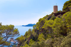 Sant Joan castle in Lloret de Mar at Costa Brava Royalty Free Stock Photo
