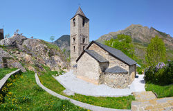 Sant Joan de Boi Church. In Valley of Boi, composed of the bell tower of Lombard style and three naves covered with stone hedge.  Lleida, Spain, UNESCO world Stock Photography