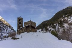 Sant Joan de Caselles Church built in the 11-12th century, Andorra. Sant Joan de Caselles Church built in the 11-12th century, in Canillo village, Principality Royalty Free Stock Photos