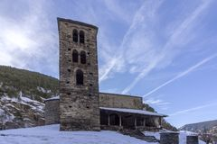 Sant Joan de Caselles Church built in the 11-12th century, Andorra. Sant Joan de Caselles Church built in the 11-12th century, in Canillo village, Principality Royalty Free Stock Image