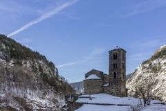 Sant Joan de Caselles Church built in the 11-12th century, Andorra. Sant Joan de Caselles Church built in the 11-12th century, in Canillo village, Principality Stock Photography