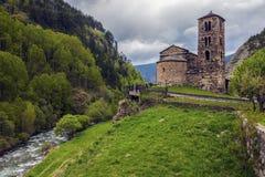 Sant Joan de Caselles Church em Canillo imagens de stock