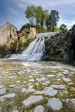Sant Joan de les Fonts, Catalonia, Spain. Natural waterfall in Sant Joan de les Fonts, Catalonia, Spain stock image