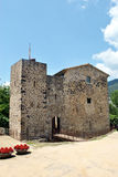 Sant Joan les Fonts castle. The medieval castle at Sant Joan les Fonts stock photos