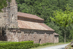 Sant Joan les Fonts,Catalonia,Spain. Monastery, Monestir de Sant Joan, romanesque style, Sant Joan les Fonts, Garrotxa, province Girona, Catalonia Stock Image
