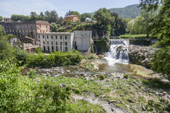 Sant Joan les Fonts,Catalonia,Spain. Village view, ancient water mill, Sant Joan les Fonts, Garrotxa, province Girona, Catalonia stock photos