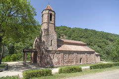 Sant Joan les Fonts, Spain. Monastery, romanesque style, Sant Joan les Fonts, Catalonia, Spain stock photo