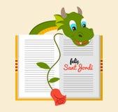 Sant Jordi - drago con il libro ed è aumentato - tradizione Catalogna, Spagna Fotografie Stock Libere da Diritti