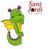 Sant Jordi. Dragon with space for text Royalty Free Stock Photos