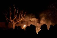 Sant Julià de Cerdanyola, Spanien - December 24, 2018: horisont av fia-faiaen i sant julia de cerdanyola arkivbild