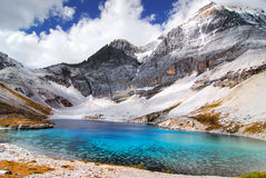 Sant Lake. The lake with the highest Altitude in Yading, Daocheng, China.  The Tibet people believe the lake belongs to the god.  If you drink the water in this Stock Photo