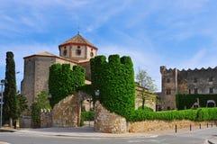Sant Marti Church and Altafulla Castle in Altafulla, Spain Stock Images