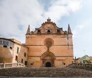 Sant Miquel教会门面在费拉尼奇,帕尔马,西班牙 库存照片