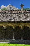 Sant Orso cloister in Aosta. Traditional mountain stone architecture royalty free stock images
