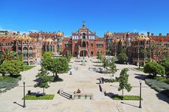 Sant Pau Art Nouveau Site, Barcelona. BARCELONA, SPAIN - MAY 12, 2017: This is the territory of former hospital Sant Pau, which is one of the masterpieces of Royalty Free Stock Image