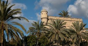 Sant Pere Bastion in Palma de mallorca. The old bastion of Sant Pere, a 16th century defensive antique walls in the city of palma in the touristic spanish island Royalty Free Stock Images
