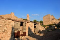 Sant Pere Church in Poble Vell de Corbera de Ebro, Tarragona pro Stock Photos
