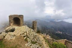 Sant Pere De Rodes i Castell De Verdera Sant Salvador De Verdera, Hiszpania fotografia stock