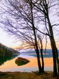 Sant Ponç swamp. Twilight in the lake Royalty Free Stock Photos