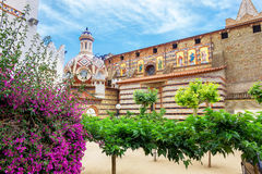 Sant Roma church, Lloret de Mar. Costa Brava, Catalonia, Spain. Courtyard of Sant Roma church in Lloret de Mar. Costa Brava, Catalonia, Spain stock images