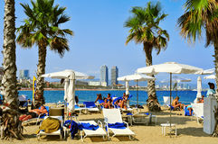 Sant Sebastia Beach, in Barcelona, Spain Stock Image