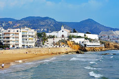 Sant Sebastia Beach in Sitges, Spain Royalty Free Stock Photos
