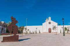 Sant Sebastia church at Sitges, Spain Stock Photos