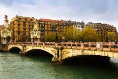 Sant Sebastian Maria Cristina-Brücke über Urumea Lizenzfreie Stockfotografie