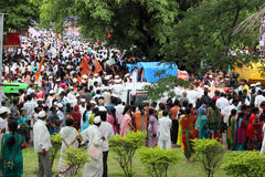 Sant Tukaram palkhi procession, Maharastra, India. A still shot form the culturally important and India's one of the biggest spiritual processions with thousands Royalty Free Stock Photo
