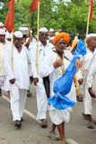 Sant Tukaram palkhi procession, Maharastra, India. A still shot form the culturally important and India's one of the biggest spiritual processions with thousands Stock Photo