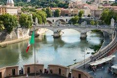 Sant' Angelo Bridge Rome Italia Royalty Free Stock Images