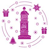 Santa's mailbox, gifts, bell, gingerbread. Santa's mailbox, gifts, bell, gingerbread, star, snowflakes. New Year and Christmas symbols. Mail wish stock illustration