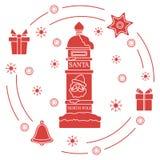 Santa's mailbox, gifts, bell, gingerbread. Santa's mailbox, gifts, bell, gingerbread, star, snowflakes. New Year and Christmas symbols. Mail wish royalty free illustration