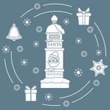 Santa's mailbox, gifts, bell, gingerbread. Santa's mailbox, gifts, bell, gingerbread, star, snowflakes. New Year and Christmas symbols. Mail wish list Vector Illustration