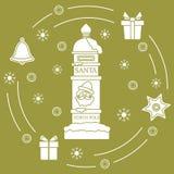 Santa's skrzynka pocztowa, prezenty, dzwon, miodownik ilustracji