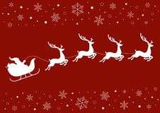 Santa Sleigh and Reindeer with Snowflakes. Santa's sleigh pulled by reindeer on a red background with snowflakes and stars Royalty Free Stock Photography