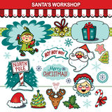 Santa's workshop Christmas holiday collection Royalty Free Stock Image