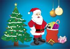 Santa à la maison illustration de vecteur