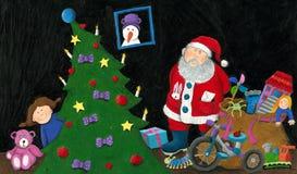 Santa, μικρό κορίτσι, σάκος με τα παιχνίδια και χριστουγεννιάτικο δέντρο ελεύθερη απεικόνιση δικαιώματος