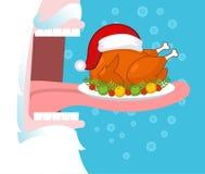 Santa łasowania boże narodzenia indyczy otwarci usta zęby długi język royalty ilustracja