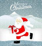 Santa łyżwa na lodzie Zdjęcie Stock